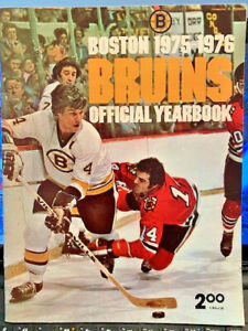 Vintage NHL ~ 1975-76 Boston Bruins Official Yearbook + Boston Globe Team Photo