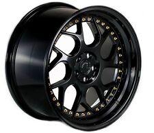 18x9.5/10.5 Aodhan DS01 Rims 5x114.3 +15 Black Wheels Fits G35 G37 350Z 370Z