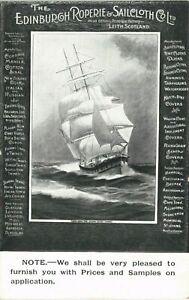 Advertising. Edinburgh Roperie & Sailcloth Co. Ltd, Leith. Sailing Ship.
