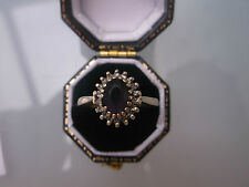 Ladies 9ct Gold Ring Amethyst & Diamond Ring 1ct Size O Weight 2.1g Stamped