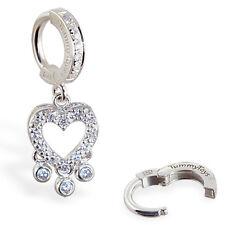 Cz Clasp snap in sexy body jewelry TummyToys Cz Heart with Bezel Drops on
