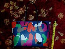 $1,800 Fendi Navy Roll Shoulder Shoppers Tote Bag Leather Handbag Purse ITALY