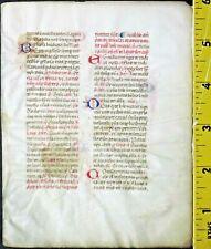 Flawed medieval vellum manuscript lf.Breviary,7 initials w/line drawings,c.1460