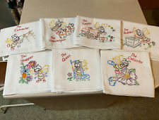 New listing Set of 7 Embroidered Busy Bees Dish Tea Towels