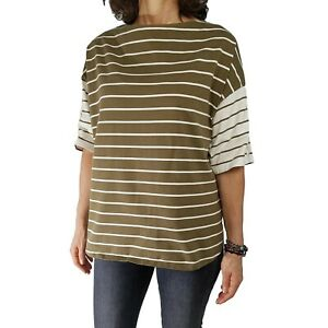 RALPH LAUREN 3X Olive Green Cream Striped Lace Up Sleeve Casual Tee Knit Top S/S