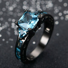 Beautiful ~ Size 9 ~ 10KT Black Gold ~ Victorian / Aquamarine Ring ~