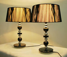 Pair of New Modern Desk Designer Bedside Table Lamps with Black Shade Glass Base