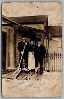 Postcard RPPC c1915 Port Colborne Ontario? Winter Scene Shoveling Snow