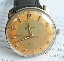 2 Tone Dial Vintage 1965 Men's Bulova Waterproof 10k RGP Mechanical Watch 4 REP.