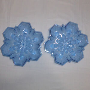 """LOT 2 BLUE SNOWFLAKE SHAPED BOWL TRANSLUCENT WINTER PARTY CANDY CHRISTMAS 8 X 1"""""""