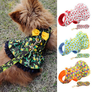 Floral Print Dog Harness Dress and Lead set Pet Cat Puppy Air Mesh Vest Skirt