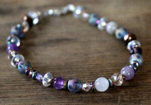 Vintage Glass and Amethyst Gemstone Beaded Bracelet with Crystal 8""