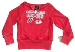 NWT Chicago Blackhawks Girls  Open Neck Sparkle Fleece Sweatshirt Size XS-4/5