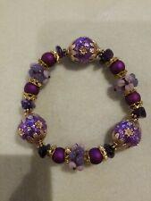 Purple Beaded Stretch Bracelet Lilah Ann Beads Amethyst Bali Resin Lampwork