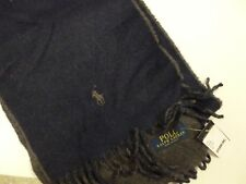 POLO RALPH LAUREN Reversible Wool Scarf Pony Logo - Grey/Navy- New With Tag