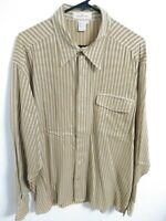 Ermenegildo Zegna Mens XL Golden Brown Striped Long Sleeve Button Up Shirt