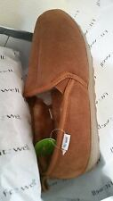 Fitzwell Men's Genuine Leather Shearling Slippers In/Outdoor Allspice Size 12M