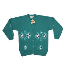 Vintage Southwest Cardigan Sweater Size XL Teal Aztec Knit Button Grandpa Tags