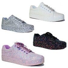 Scarpe donna Sneakers Glitter Ginnastica Rialzo Stringate Passeggio Casual C51