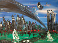 AMERICANA  Impasto pop art Abstract Modern CANVAS Original  Pqwef