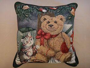 Free Shipping!  Teddy Bear & Kitten Christmas Pillow - Red Metallic Threads