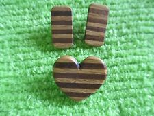 and Heart Pin Brooch Handmade Oak & Walnut Earrings
