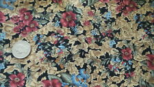 "Vintage Cotton Fabric DARK PINK,BLUE,BROWN FLORAL ON BLACK Les Jardins 47""X44"""