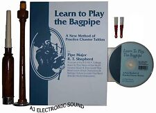 NEW  AJ LEARN TO PLAY BAGPIPES MANUAL BOOK /CD AND PRACTICE CHANTER WITH 2 REEDS