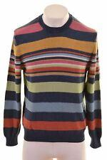 NAVIGARE Mens Crew Neck Jumper Sweater Small Multi Striped Cotton  MN14