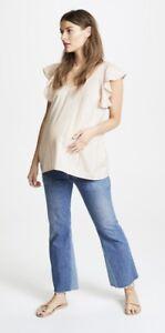 Glitz Maternity Striped Sleeveless V Neck Tunic Top Casual
