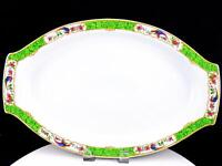"SCHUMANN BAVARIA WHITE BLOCK JLB&S BIRD & FLOWERS 16 3/4"" HANDLED OVAL PLATTER"