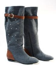 Gibellieri 3358 Blue Denim Summer Metallic Studs Knee-High Boots 36 / US 6
