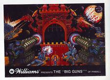 WILLIAMS BIG GUNS ORIGINAL OVERSIZED COLOR PINBALL MACHINE PROMO DECAL TRANSFER