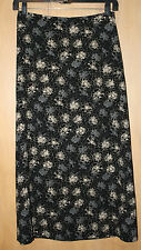 Liz Claiborne Straight A-Line Skirt~Sz 10~Black Print~Maxi Length~Unlined