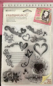 Autumn Leave Stampology Clear Stamps ~ Love Is In The Air ~ 12pc ~ Hearts Floral