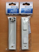 2 gang 2 way Architrave Light Switch White Square Edge Finish With Pattress Box