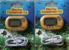 2 New Digital Lcd Fish Tank Aquarium Marine Water Thermometer Temperature Yellow