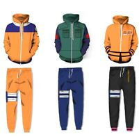 Naruto0 Uzumaki Hoodie Cosplay Costume Men Hooded Pullover Sweatshirt Pants Set