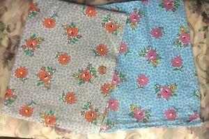 2 Full Vtg FEEDSACK FLOUR SACK Quilt Sewing DollClothes   Same Print 2 Colorways