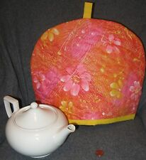 """Pink/Orange Floral/Paint Splatter Pattern"" Tea Cozy - Quilted - Hand Made - New"