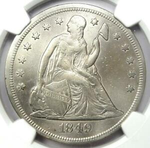 1849 Seated Liberty Silver Dollar $1 - Certified NGC XF Detail (EF) - Rare Coin!