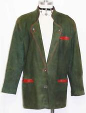 LEATHER ~ GREEN German Trachten SPORT Winter Riding Hunting JACKET Coat  ~ 16 L