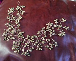 "Wedding Hair Vine Gold Bridal Hairpiece baby's breath Gypsophila Boho Prom 20"""