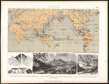 1870 Gravure originale géographie carte volcans Vésuve cratère volcanologie