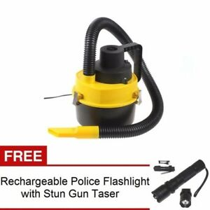 Wet and Dry Portable Car Vacuum Cleaner (Yellow) with Rechargeable Flashlight