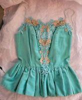Manoush aqua mint green velvet gold lace bustier peplum corset top camisole S 4