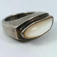 Artisan Large Modernist Brutalist Mother Of Pearl Sterling Silver 925 Ring Sz7.5