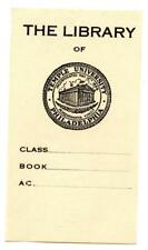 Early 1900s Engraved Bookplate Ex Libris Temple University Philadelphia Library