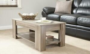 Walnut Coffee Table Lift Up Top Reveals Large Storage Area Seconds