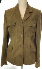 Holland & Holland Leather Suede Green Women's Button Jacket Hunting  Size 12